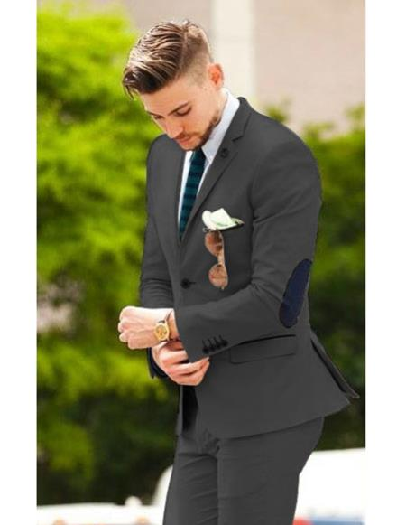 Mens Charcoal Grey suit with elbow patches & pants