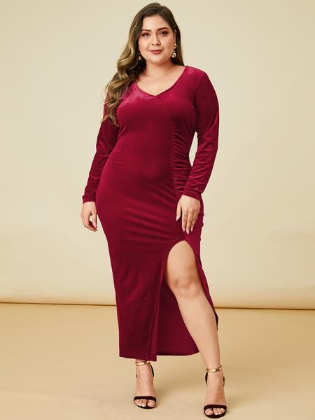 YOINS Plus Size Christmas Burgundy Velvet Slit Design Dress