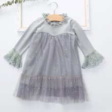 Baby Girl Flounce Sleeve Contrast Mesh Dress