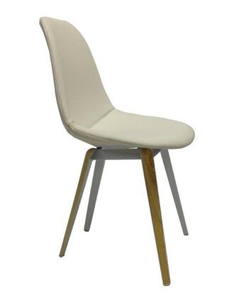 Slice 100-KN4-CRL-WN Cream Leather Chair in Cream Seat and White-Natural