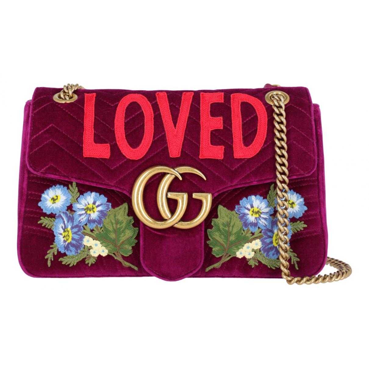 Gucci - Sac a main Marmont pour femme en velours - violet