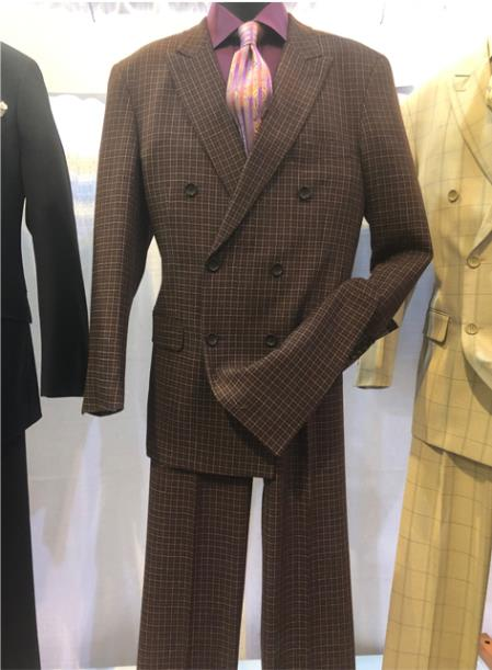 Mens Notch Lapel Single Breasted Brown Suit
