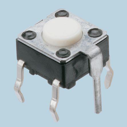 Panasonic White Tactile Switch, Single Pole Single Throw (SPST) 20 mA @ 15 V dc 4.3mm (5)