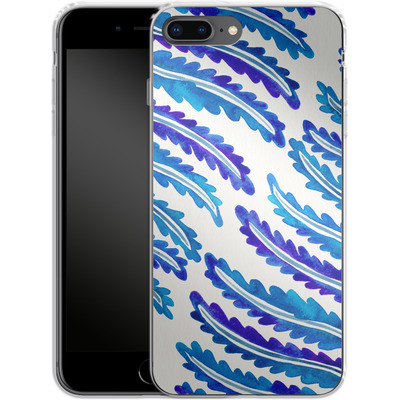 Apple iPhone 7 Plus Silikon Handyhuelle - Fern Leaf Navy von Cat Coquillette