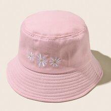 Flower Embroidery Bucket Hat