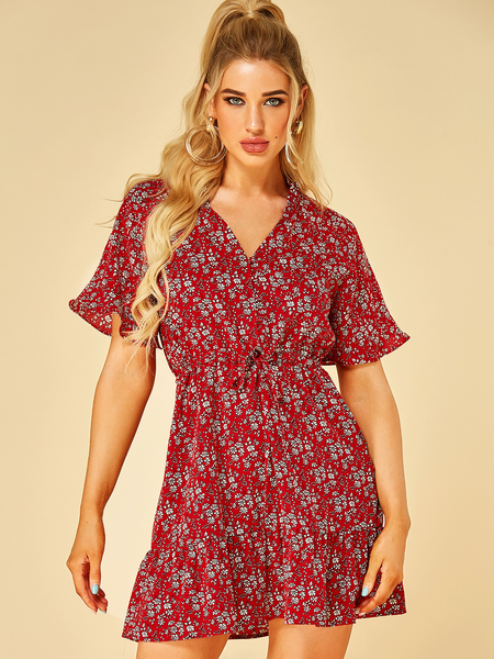 YOINS Red Lettuce-edge Floral Print V-neck Short Sleeves Dress