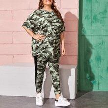 Plus Drop Shoulder Camo Top & Contrast Side Leggings Set