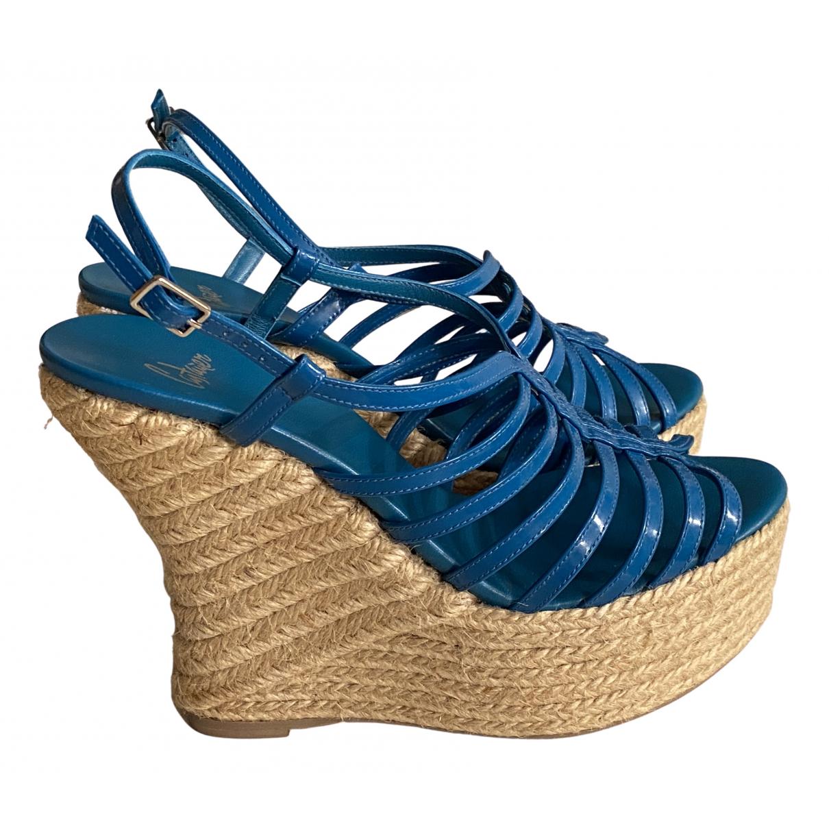 Castaner - Espadrilles   pour femme en cuir - bleu
