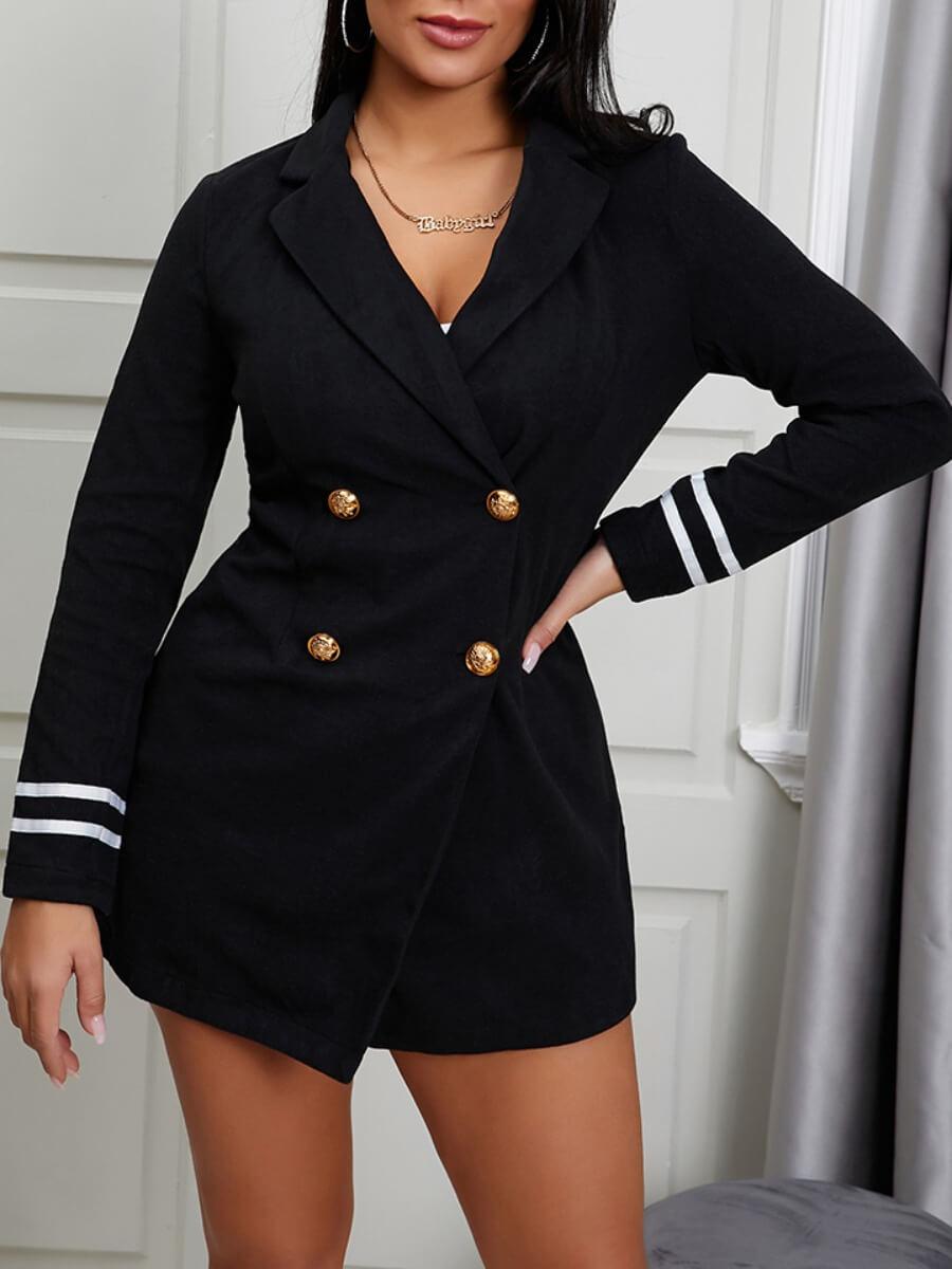 LW Lovely Stylish Turndown Collar Buttons Design Black Blazer
