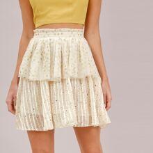 Paperbag Waist Glitter Star Layered Skirt