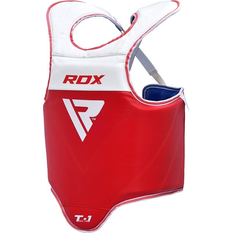 RDX T1 Plastron de Protection Taekwondo Moyenne Rouge Bleu Cuir PU