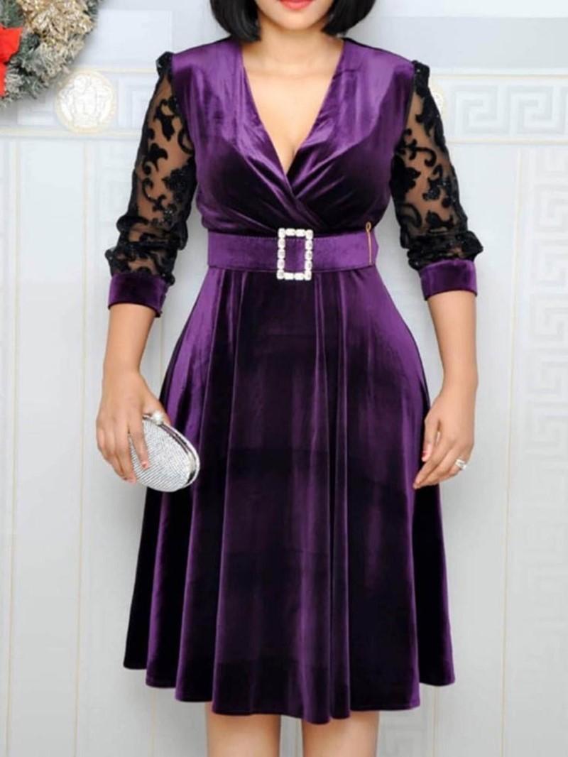 Ericdress V-Neck Belt Mid-Calf Pullover Mid Waist A-Line Dress