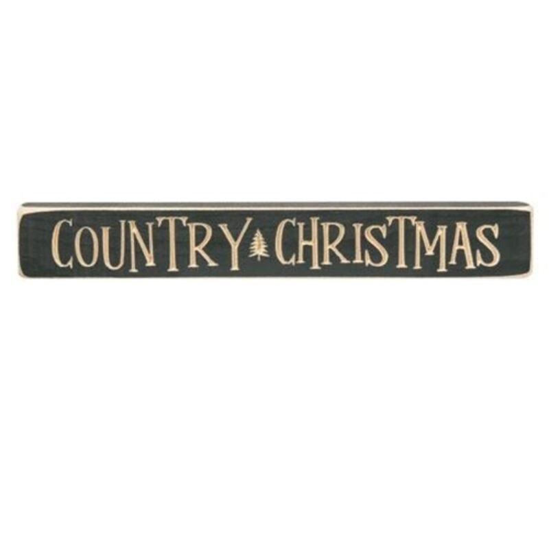 Country Christmas Engraved Block 12 Knights Green - Brown (Brown)