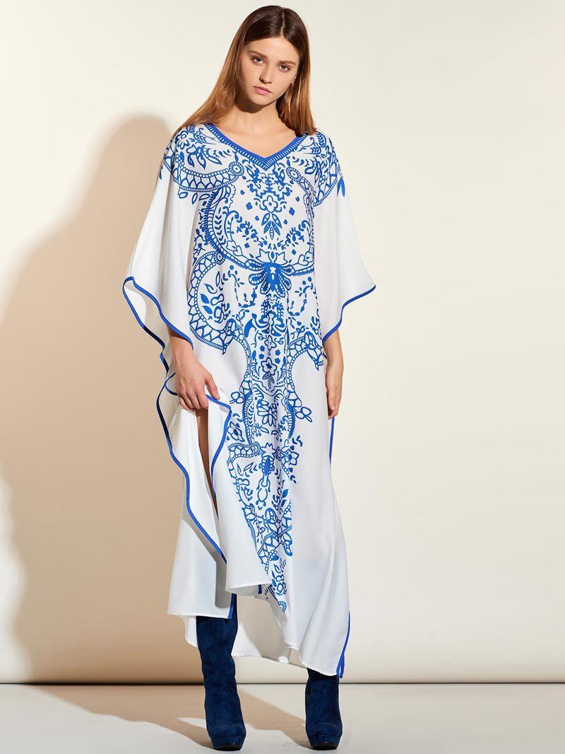 Ericdress Celadon Pattern Hemming Ruffle Sleeve Maxi Dress
