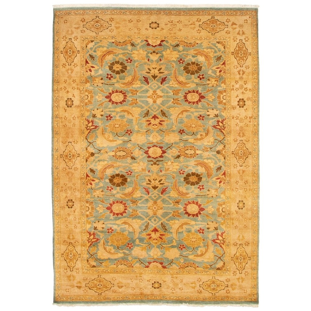 ECARPETGALLERY  Hand-knotted Peshawar Ottoman Light Blue  Wool Rug - 6'3 x 9'1 (6'3 x 9'1 - Light Blue)