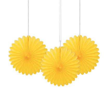 Solid Tissue Paper Fans for Party Decoration 6'' 3Pcs - Sunflower Yellow