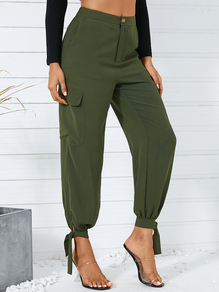 YOINS Casual Side Pockets Tie-up Design Pants