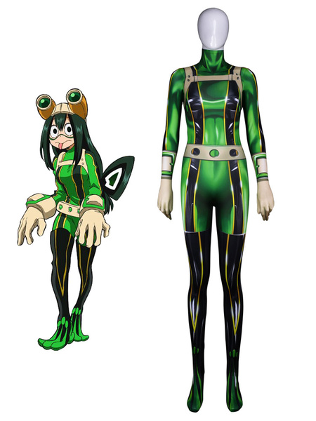 Milanoo Boku No Hero Academia Tsuyu Asui Froppy BNHA Halloween Cosplay Costume Lycra Spandex Catsuit Jumpsuit