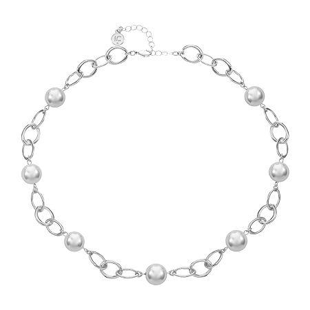 Liz Claiborne 20 Inch Round Collar Necklace, One Size , Silver