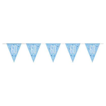 9pi Bannière en aluminium prismatique bleu et argent Glitz, 1ct - 60 ans
