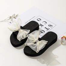 Girls Rhinestone Bow Decor Slippers