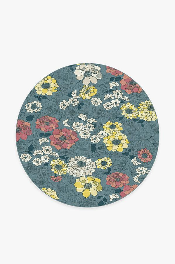 Washable Rug Cover | Floret Teal Blue Rug | Stain-Resistant | Ruggable | 6 Round