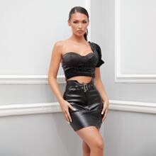 Notch Waist Buckle Belted PU Leather Skirt