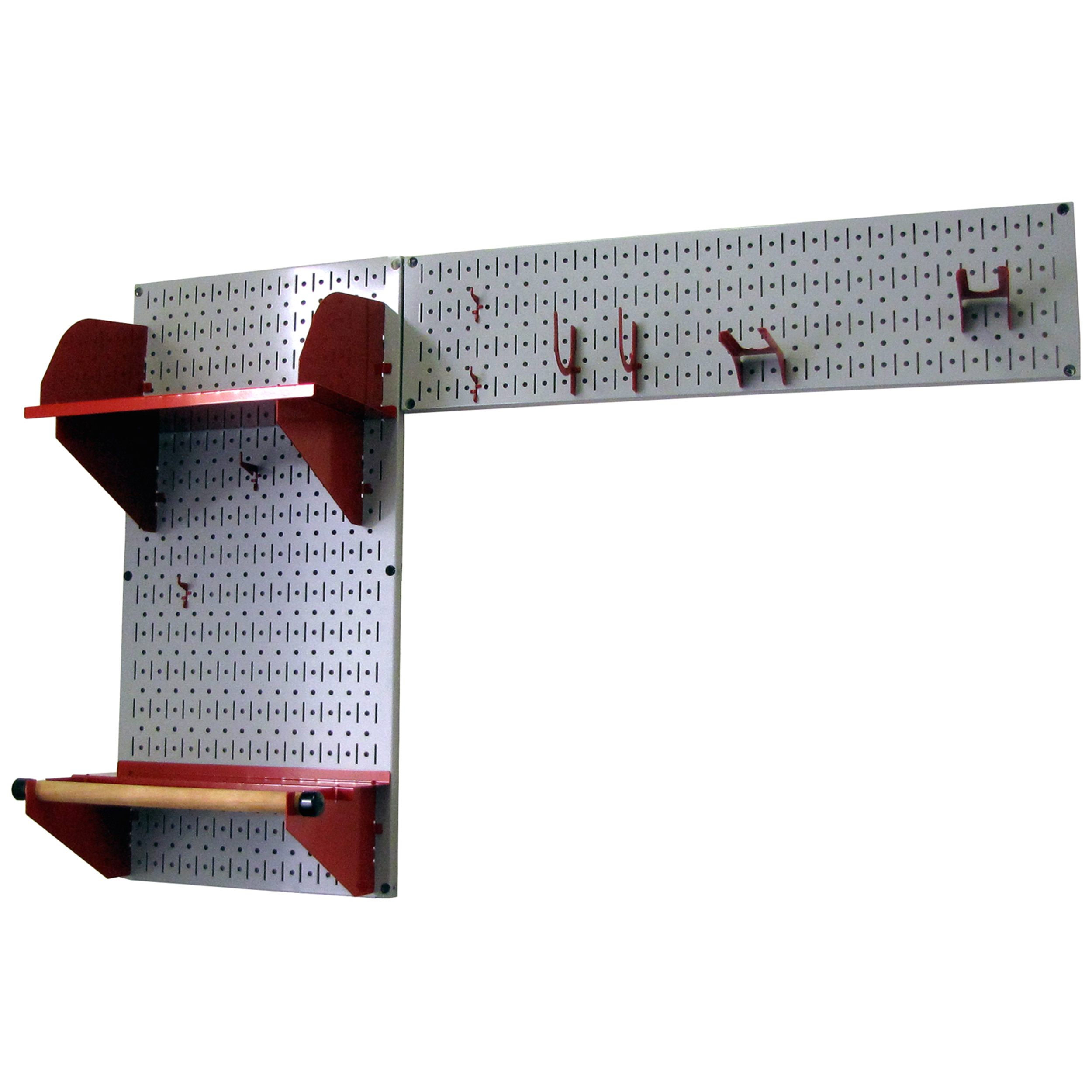 Pegboard Garden Tool Board Organizer with Gray Pegboard and Red Accessories