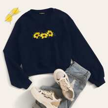 Embroidered Sunflower Pullover