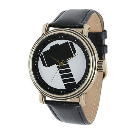 Marvel Vintage Thor Mens Black Leather Strap Watch, One Size , No Color Family