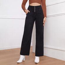Jeans mit hoher Taille, Knopfen und geradem Beinschnitt