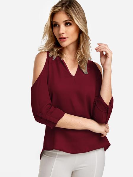 Yoins Red Cold Shoulder Long Sleeves Blouse With Adjustable Shoulder Straps