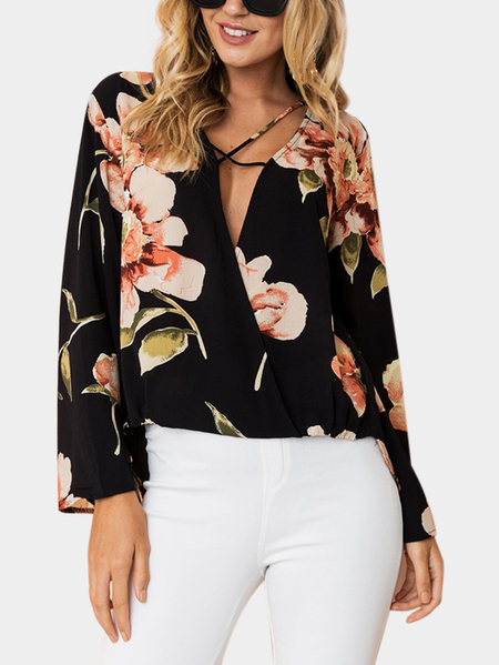 Yoins Black Crossed Front Design Floral Print Deep V Neck Long Sleeves Blouse