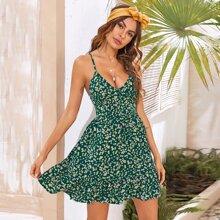 Kleid mit Blumen Raffung