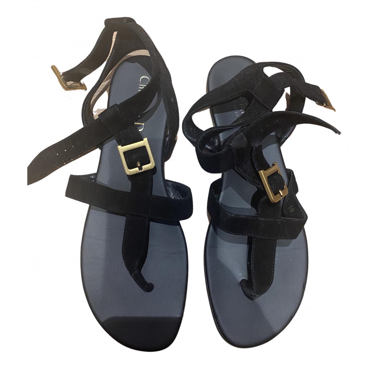 Dior N Black Leather Sandals for Women 38 EU