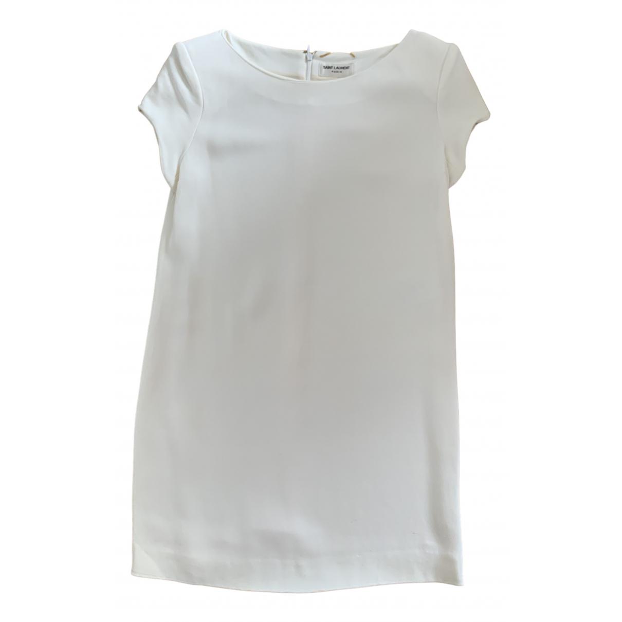Saint Laurent \N Kleid in  Ecru Wolle