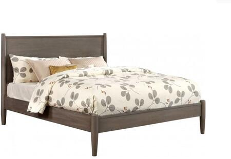 Lennart Collection CM7386GY-F-BED Full Size Panel Bed with Mid-Century Style  Tapered Legs  Wooden Headboard and Wood Veneer Construction in Grey