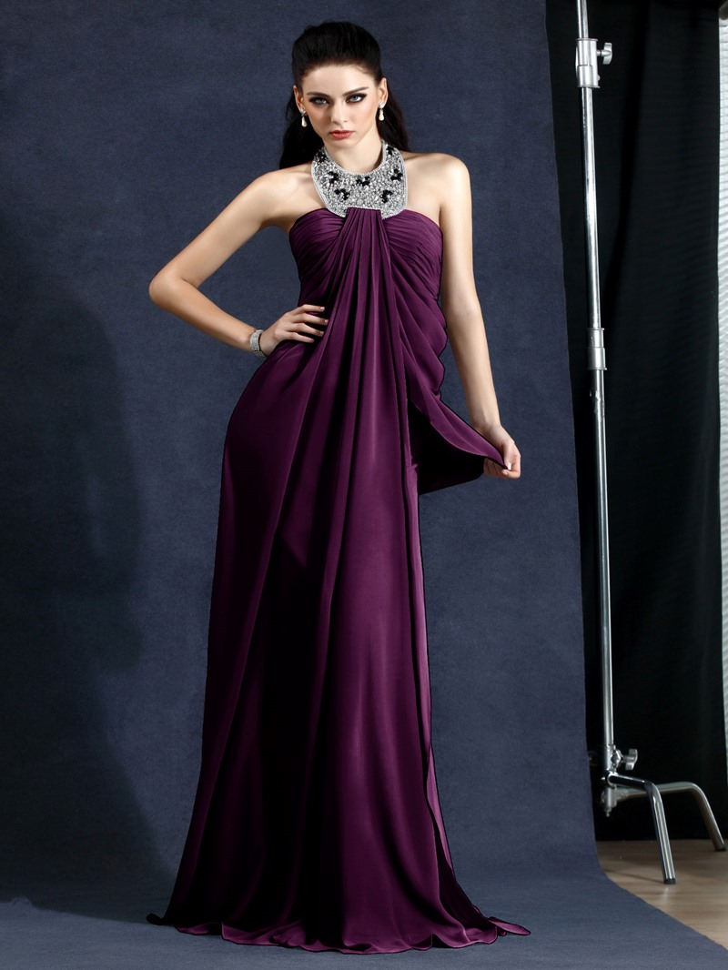 Elegant A-Line Halter Draped Floor-Length Polina's Evening Dress