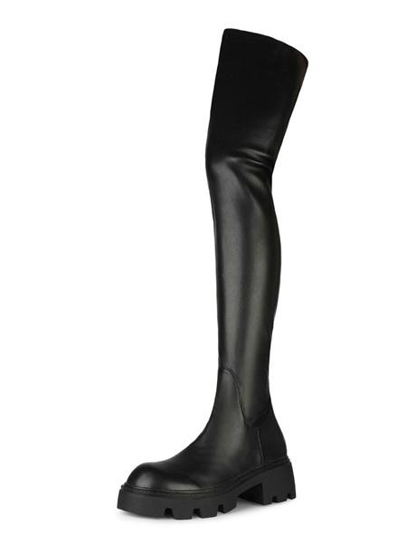 Milanoo Botas sobre la rodilla Negro Cuero de la PU del dedo del pie redondo de alta del muslo botas para las mujeres