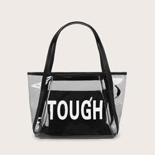 Bolsa tote con estampado de letra transparente con bolsillo delantero