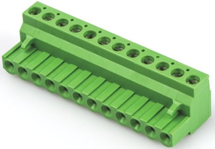TE Connectivity Non-Fused Terminal Block, 12 Way/Pole, Screw Down Terminals, 30 → 12 AWG Cable Mount, Nylon, 300 (5)