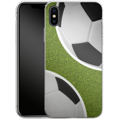 Apple iPhone X Silikon Handyhuelle - Two Footballs von caseable Designs