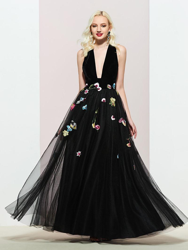 Ericdress Deep V-Neck Embroidery Appliques Evening Dress