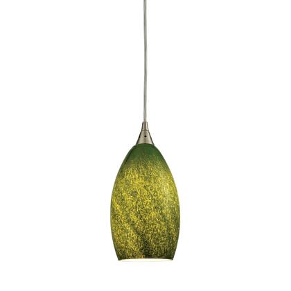10510/1GRS Earth 1 Light Pendant in Satin Nickel and Grass Green