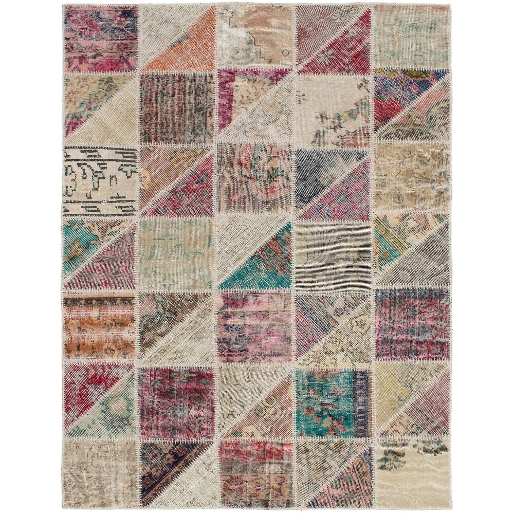 ECARPETGALLERY Hand-knotted Color Transition Patchwork Multi Wool Rug - 4'9 x 6'10 (Multi Color - 4'9 x 6'10)