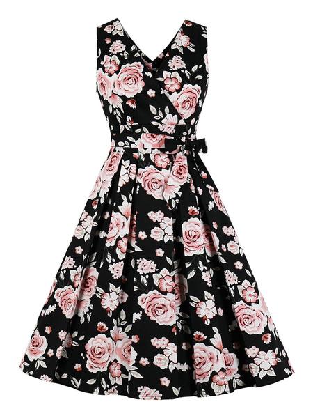 Milanoo Woman\'s Vintage Dress 1950s Sleeveless Cotton Knee Length Floral Print Rose Rockabilly Dress