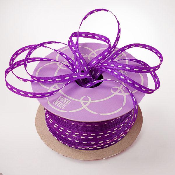 1/8 X 50 Yards Polyester Satin Purple Center Stitch Narrow Ribbon by Ribbons.com