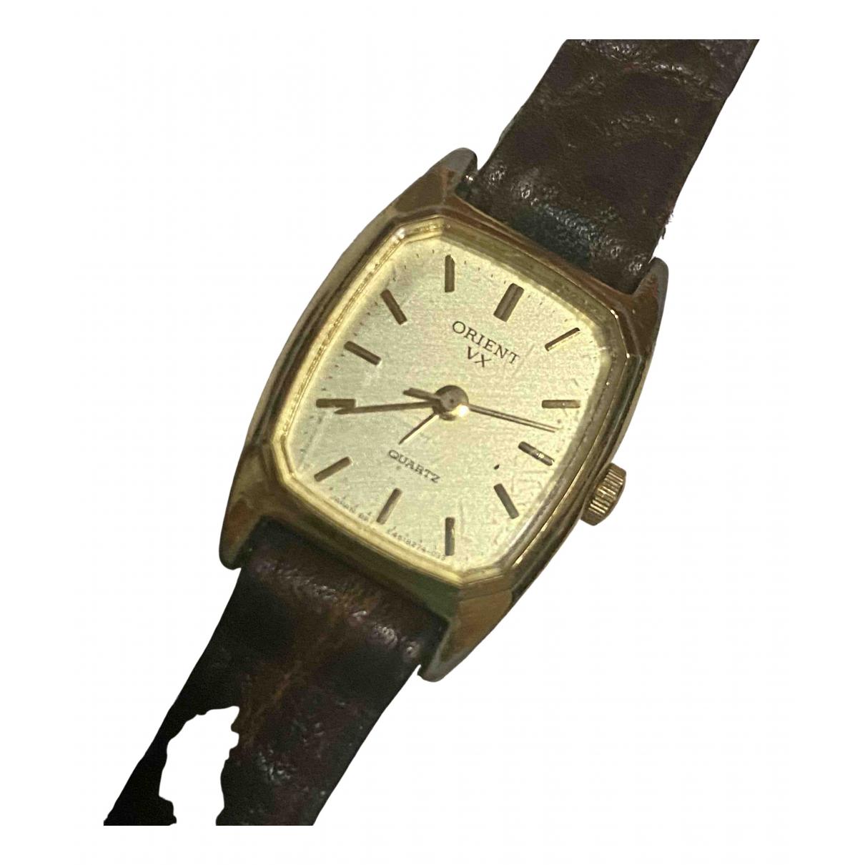 Non Signe / Unsigned \N Uhr in  Braun Vergoldet