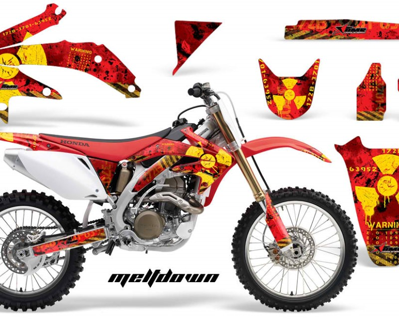 AMR Racing Dirt Bike Graphics Kit Decal Sticker Wrap For Honda CRF450R 2005-2008áMELTDOWN YELLOW RED