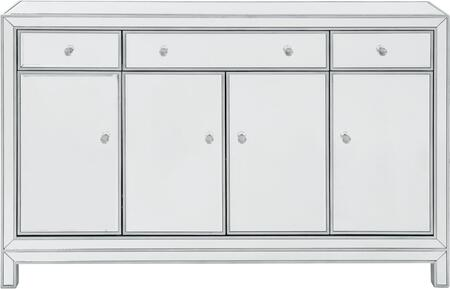 MF72001 Buffet Cabinet 3 Drawers 4 Doors 56W X 13D X 36H In Antique Silver